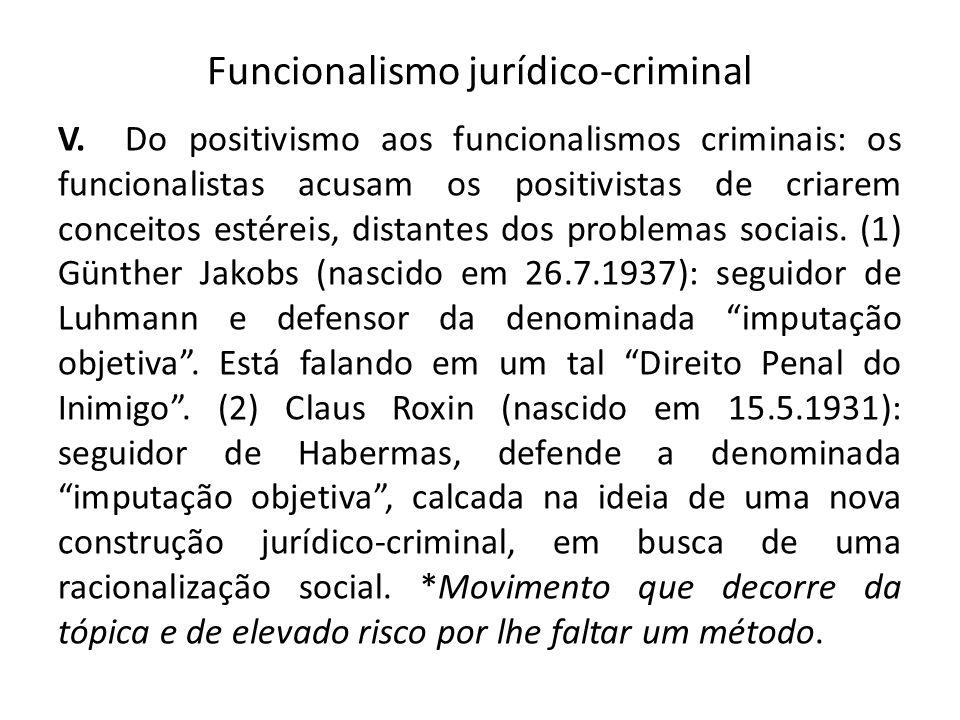 Funcionalismo jurídico-criminal V. Do positivismo aos funcionalismos criminais: os funcionalistas acusam os positivistas de criarem conceitos estéreis