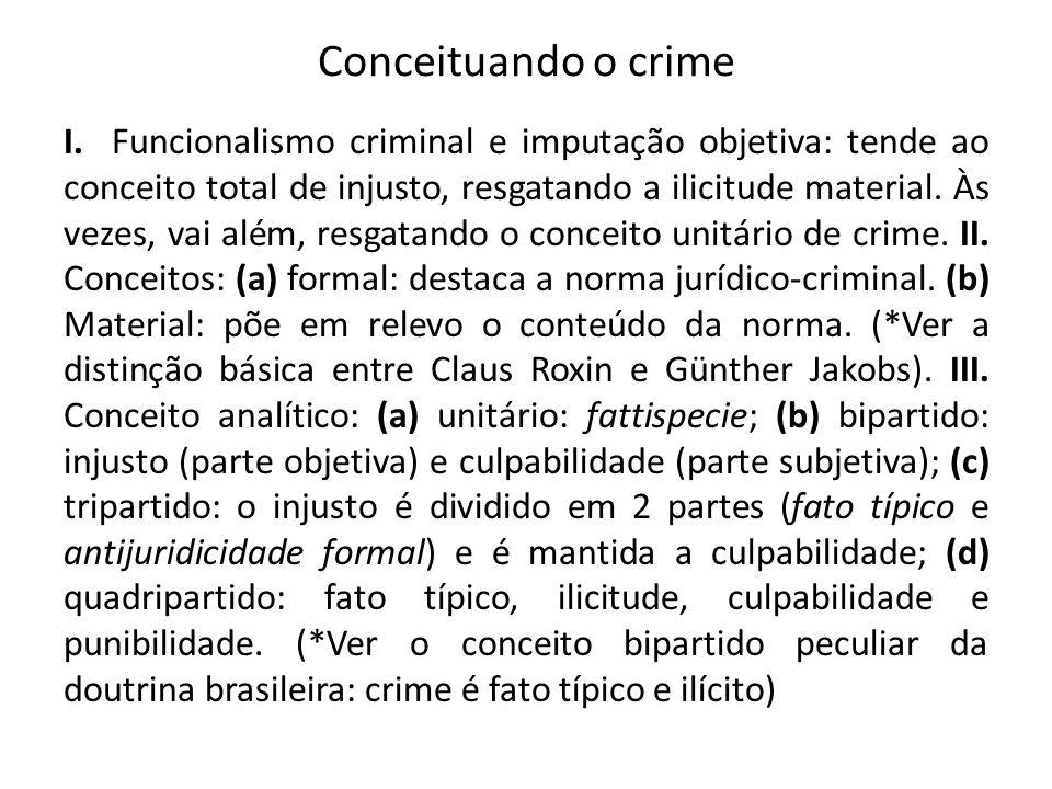 Conceituando o crime I. Funcionalismo criminal e imputação objetiva: tende ao conceito total de injusto, resgatando a ilicitude material. Às vezes, va