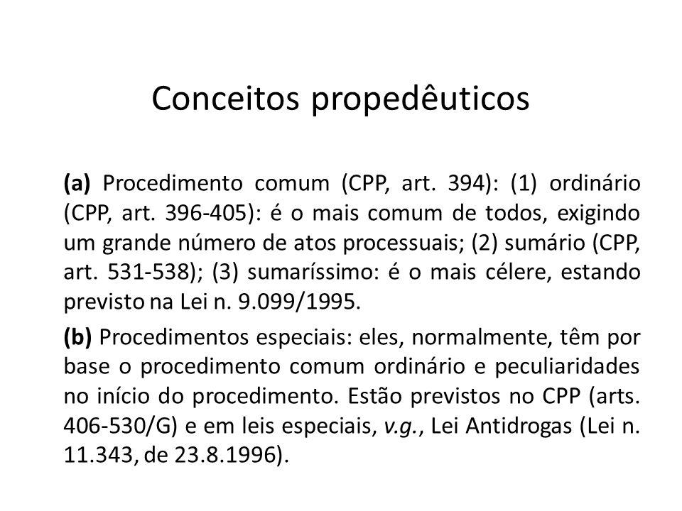 Conceitos propedêuticos (a) Procedimento comum (CPP, art. 394): (1) ordinário (CPP, art. 396-405): é o mais comum de todos, exigindo um grande número