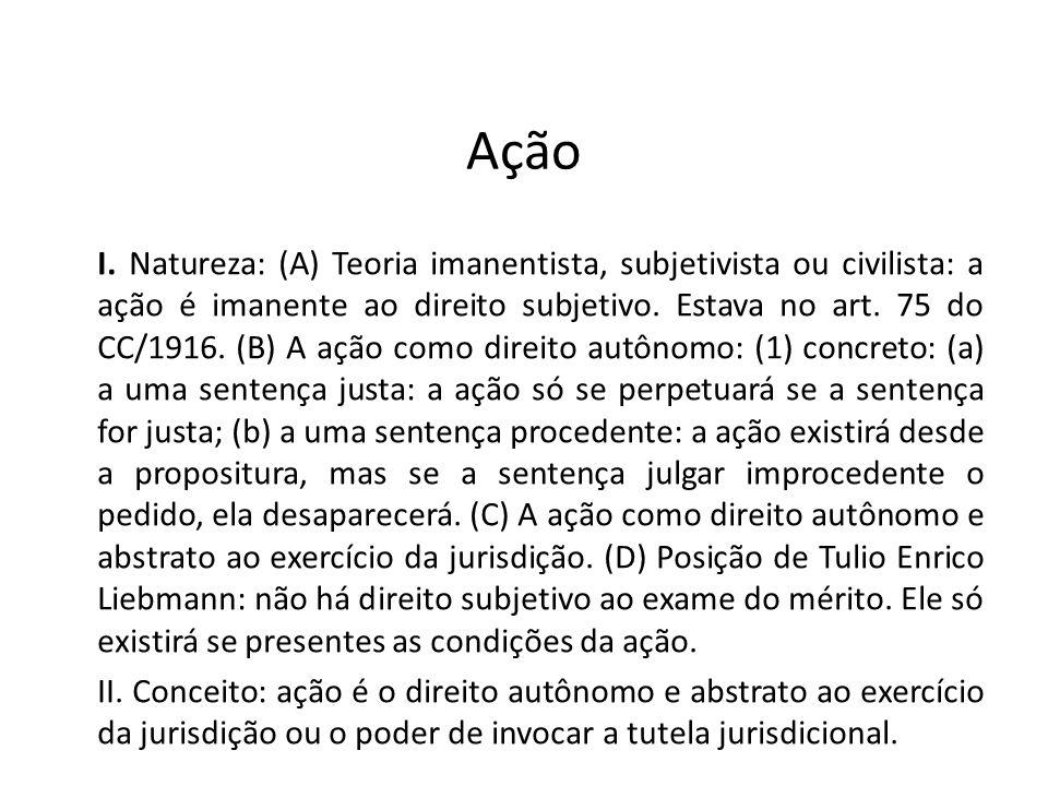 Ação I. Natureza: (A) Teoria imanentista, subjetivista ou civilista: a ação é imanente ao direito subjetivo. Estava no art. 75 do CC/1916. (B) A ação