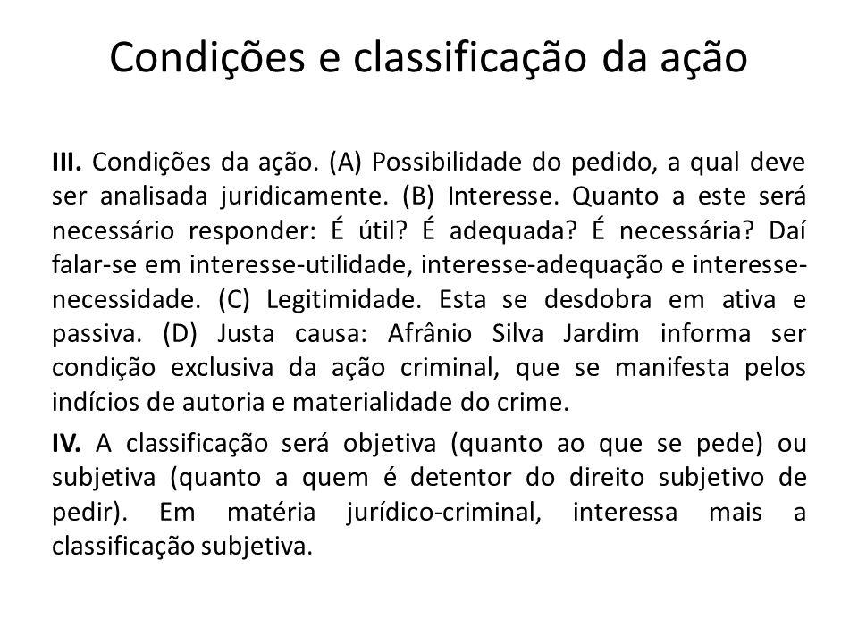 Condições e classificação da ação III. Condições da ação. (A) Possibilidade do pedido, a qual deve ser analisada juridicamente. (B) Interesse. Quanto