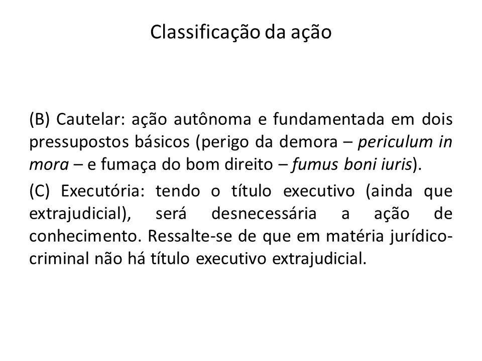 Classificação da ação (B) Cautelar: ação autônoma e fundamentada em dois pressupostos básicos (perigo da demora – periculum in mora – e fumaça do bom direito – fumus boni iuris).