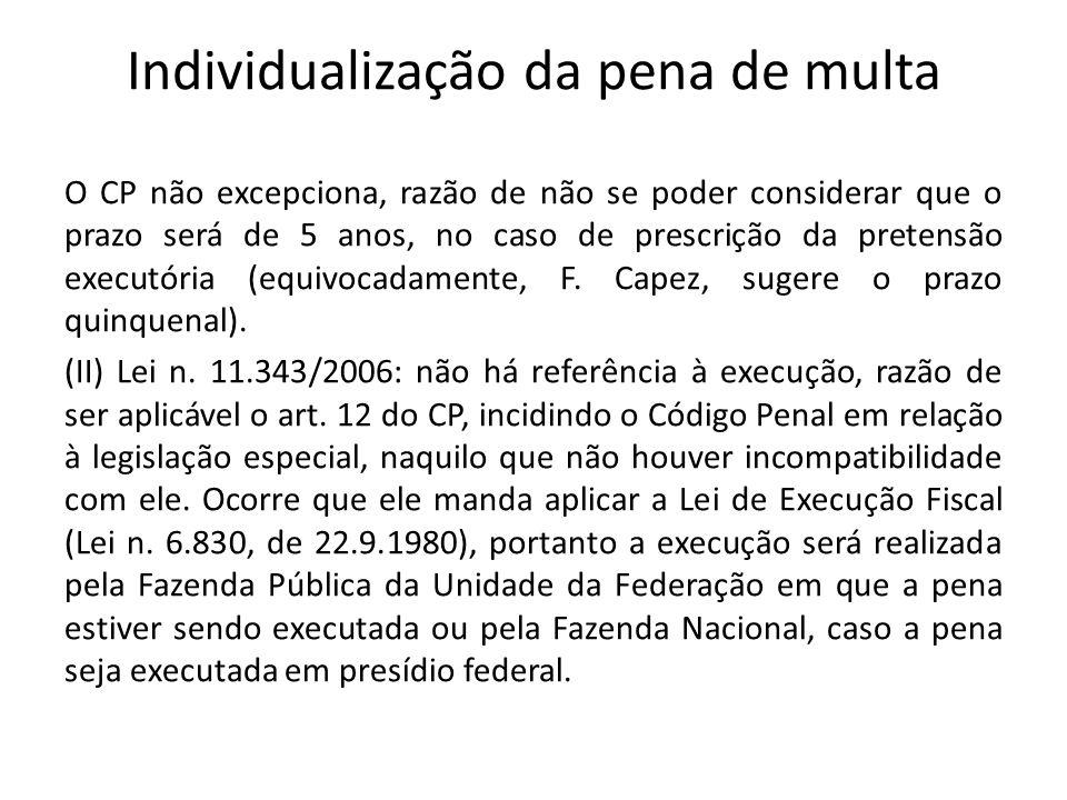 Individualização da pena de multa O CP não excepciona, razão de não se poder considerar que o prazo será de 5 anos, no caso de prescrição da pretensão executória (equivocadamente, F.