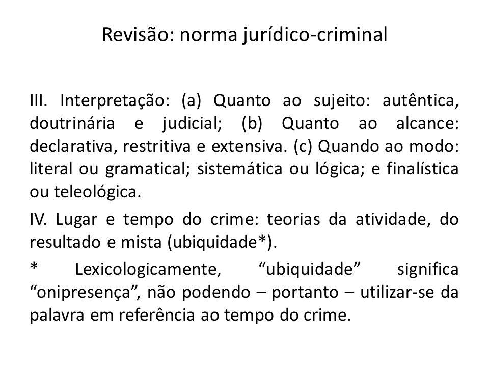 Revisão: norma jurídico-criminal III. Interpretação: (a) Quanto ao sujeito: autêntica, doutrinária e judicial; (b) Quanto ao alcance: declarativa, res