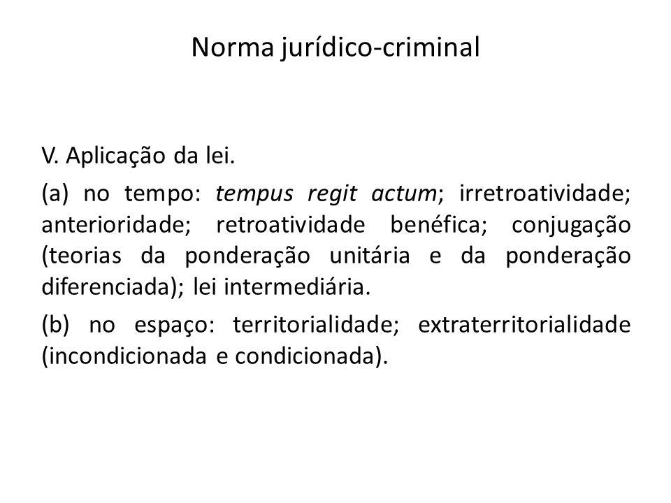 Norma jurídico-criminal V. Aplicação da lei. (a) no tempo: tempus regit actum; irretroatividade; anterioridade; retroatividade benéfica; conjugação (t
