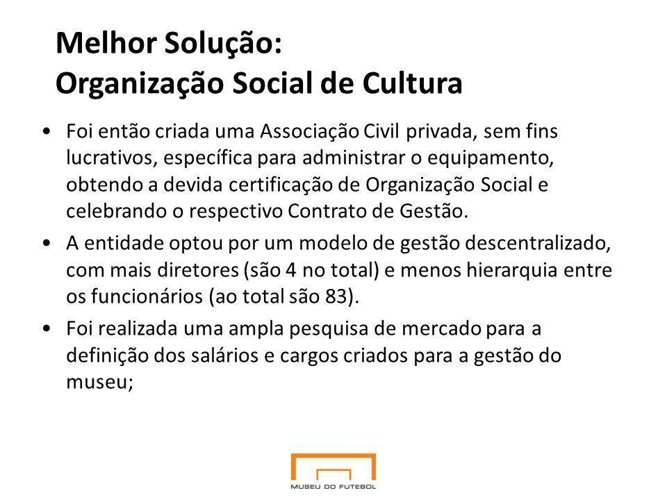 Melhor Solução: Organização Social de Cultura Foi então criada uma Associação Civil privada, sem fins lucrativos, específica para administrar o equipamento, obtendo a devida certificação de Organização Social e celebrando o respectivo Contrato de Gestão.