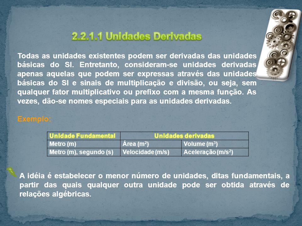 Metro (m)Área (m 2 )Volume (m 3 ) Metro (m), segundo (s)Velocidade (m/s)Aceleração (m/s 2 ) A idéia é estabelecer o menor número de unidades, ditas fu