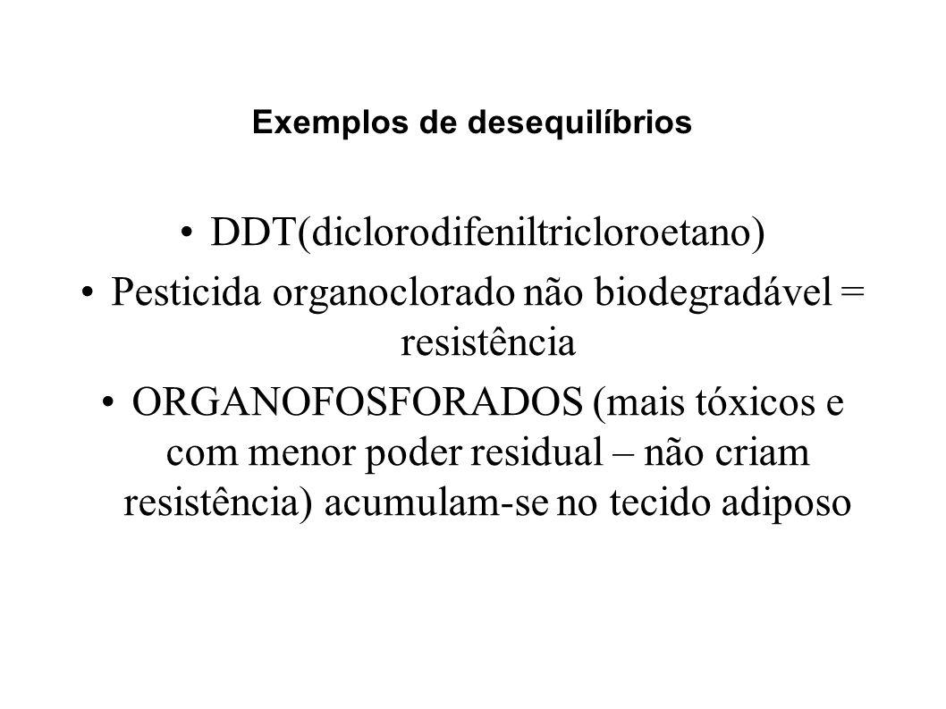 DDT(diclorodifeniltricloroetano) Pesticida organoclorado não biodegradável = resistência ORGANOFOSFORADOS (mais tóxicos e com menor poder residual – n