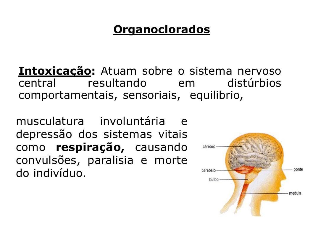 Organoclorados musculatura involuntária e depressão dos sistemas vitais como respiração, causando convulsões, paralisia e morte do indivíduo. Intoxica