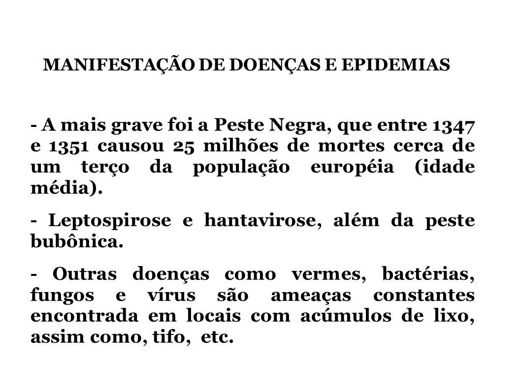 MANIFESTAÇÃO DE DOENÇAS E EPIDEMIAS - A mais grave foi a Peste Negra, que entre 1347 e 1351 causou 25 milhões de mortes cerca de um terço da população