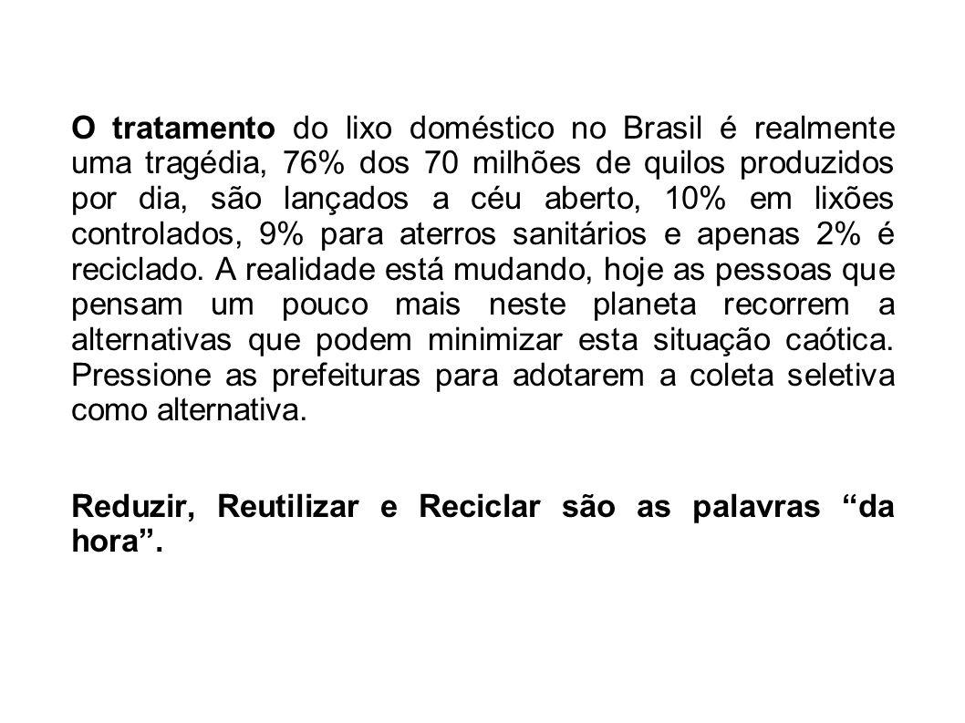 O tratamento do lixo doméstico no Brasil é realmente uma tragédia, 76% dos 70 milhões de quilos produzidos por dia, são lançados a céu aberto, 10% em