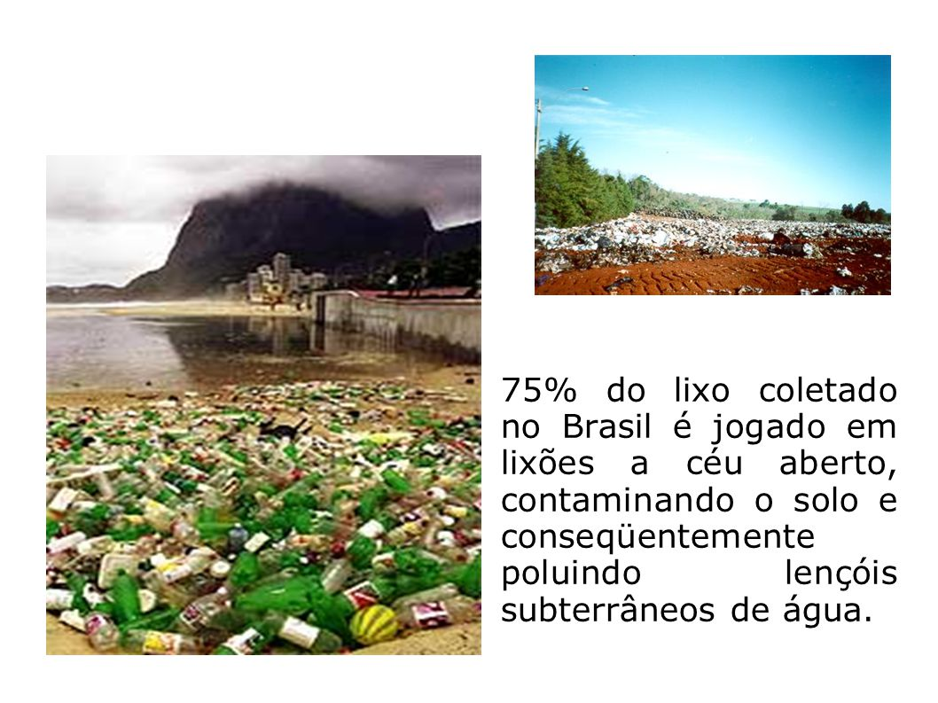 75% do lixo coletado no Brasil é jogado em lixões a céu aberto, contaminando o solo e conseqüentemente poluindo lençóis subterrâneos de água.
