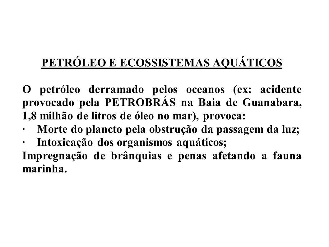 PETRÓLEO E ECOSSISTEMAS AQUÁTICOS O petróleo derramado pelos oceanos (ex: acidente provocado pela PETROBRÁS na Baia de Guanabara, 1,8 milhão de litros