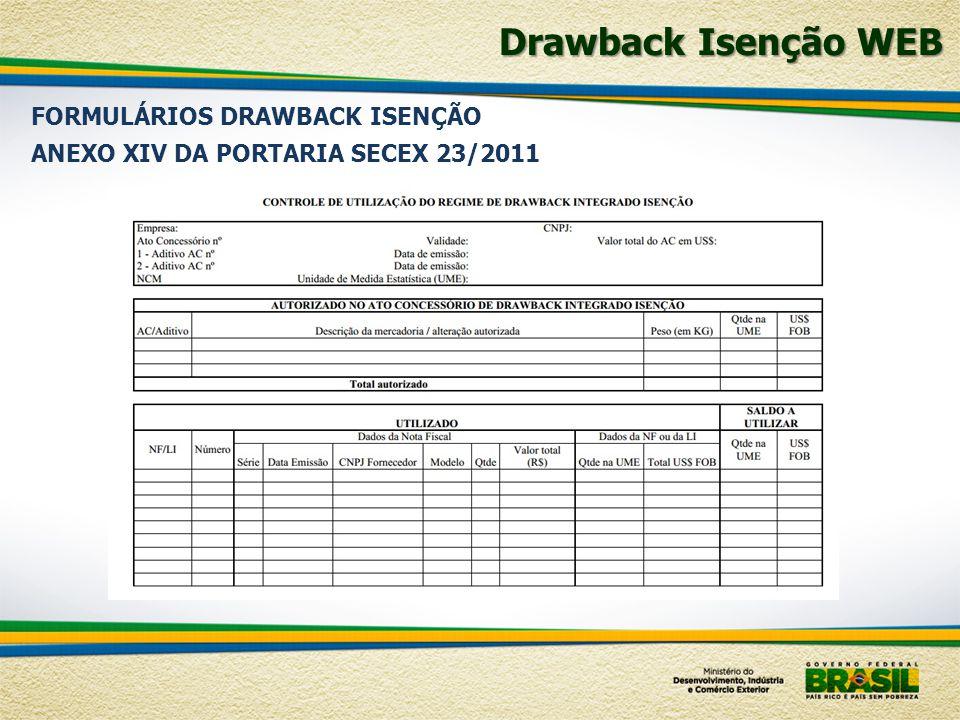 Drawback Isenção WEB FORMULÁRIOS DRAWBACK ISENÇÃO ANEXO XIV DA PORTARIA SECEX 23/2011