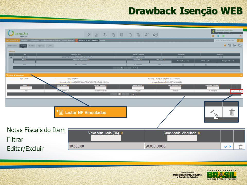 Notas Fiscais do Item Filtrar Editar/Excluir Drawback Isenção WEB