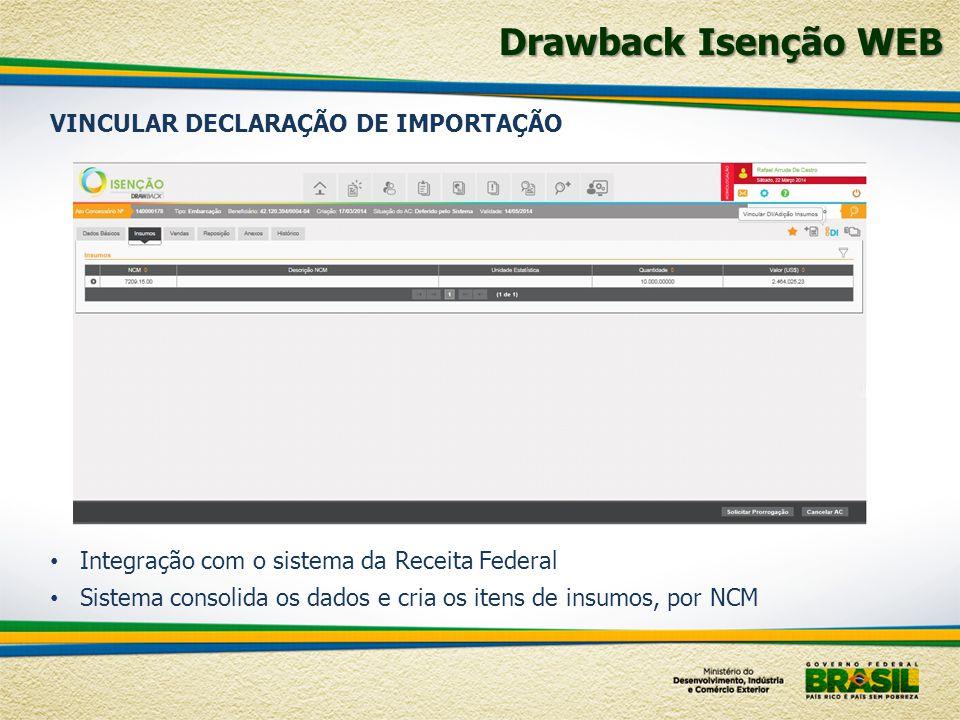 Integração com o sistema da Receita Federal Sistema consolida os dados e cria os itens de insumos, por NCM VINCULAR DECLARAÇÃO DE IMPORTAÇÃO