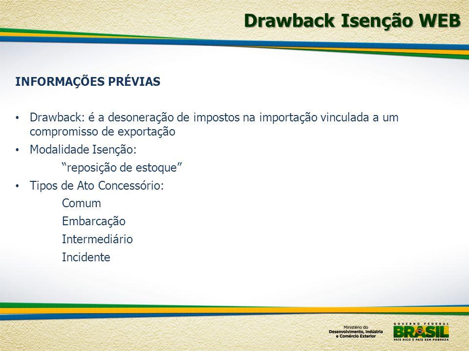 Drawback Isenção WEB INFORMAÇÕES PRÉVIAS Drawback: é a desoneração de impostos na importação vinculada a um compromisso de exportação Modalidade Isenç