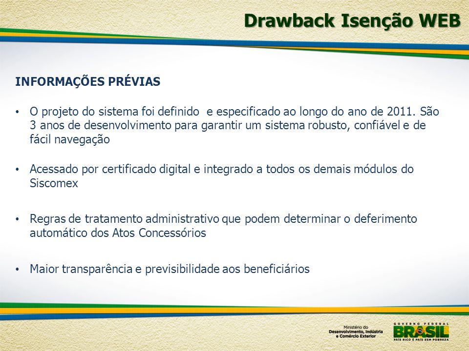 Drawback Isenção WEB INFORMAÇÕES PRÉVIAS O projeto do sistema foi definido e especificado ao longo do ano de 2011. São 3 anos de desenvolvimento para