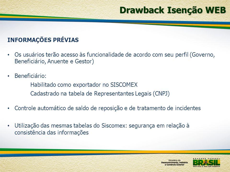 Drawback Isenção WEB INFORMAÇÕES PRÉVIAS Os usuários terão acesso às funcionalidade de acordo com seu perfil (Governo, Beneficiário, Anuente e Gestor)