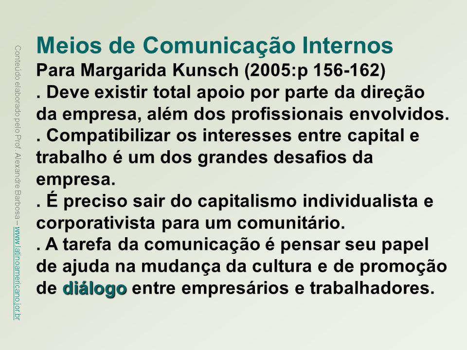 Conteúdo elaborado pelo Prof. Alexandre Barbosa – www.latinoamericano.jor.br www.latinoamericano.jor.br Meios de Comunicação Internos Para Margarida K