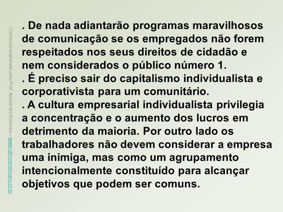 Conteúdo elaborado pelo Prof. Alexandre Barbosa – www.latinoamericano.jor.br www.latinoamericano.jor.br. De nada adiantarão programas maravilhosos de