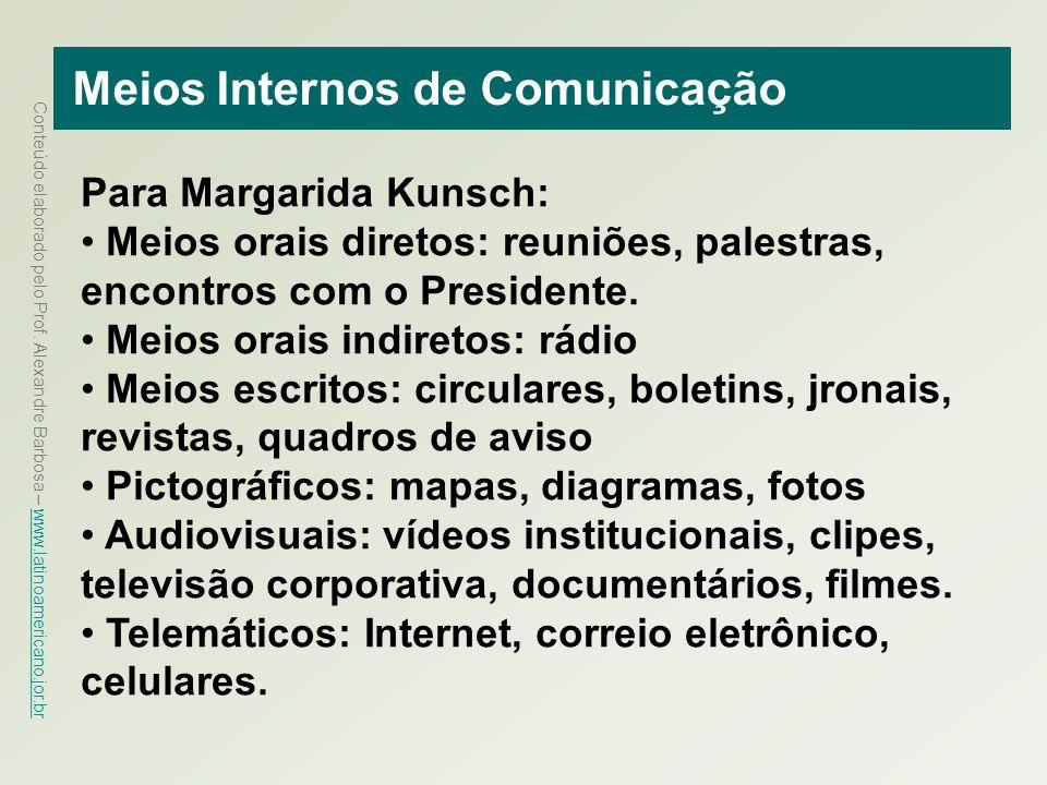 Conteúdo elaborado pelo Prof. Alexandre Barbosa – www.latinoamericano.jor.br www.latinoamericano.jor.br Meios Internos de Comunicação Para Margarida K