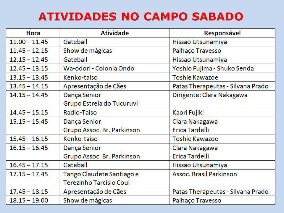 ATIVIDADES NO CAMPO SABADO