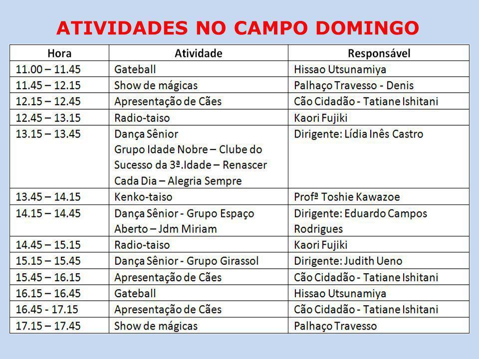 ATIVIDADES NO CAMPO DOMINGO