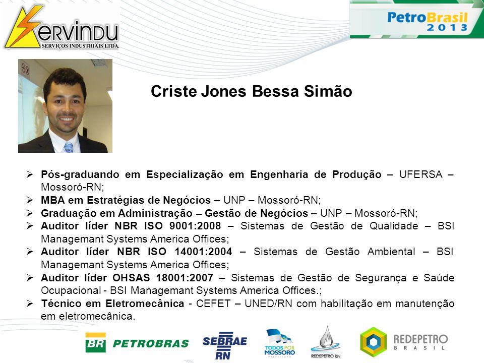 Pós-graduando em Especialização em Engenharia de Produção – UFERSA – Mossoró-RN; MBA em Estratégias de Negócios – UNP – Mossoró-RN; Graduação em Admin