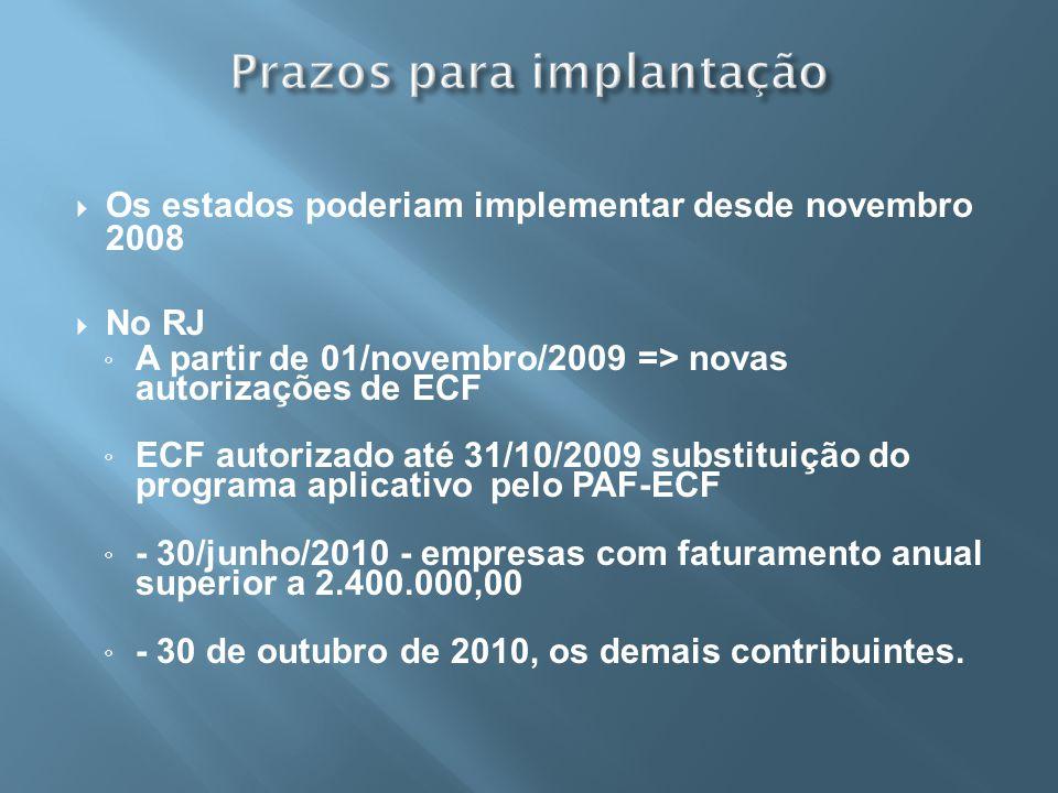 Os estados poderiam implementar desde novembro 2008 No RJ A partir de 01/novembro/2009 => novas autorizações de ECF ECF autorizado até 31/10/2009 subs