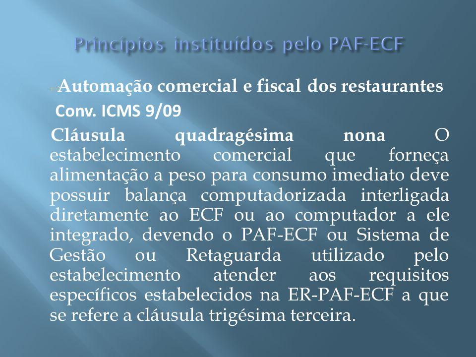 Automação comercial e fiscal dos restaurantes Conv. ICMS 9/09 Cláusula quadragésima nona O estabelecimento comercial que forneça alimentação a peso pa