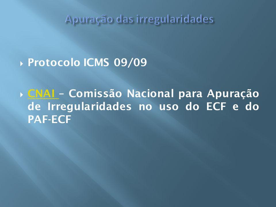Protocolo ICMS 09/09 CNAI – Comissão Nacional para Apuração de Irregularidades no uso do ECF e do PAF-ECF CNAI