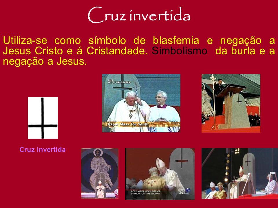 Cruz Deformada O Crucifixo Satânico, é o símbolo máximo do Anticristo. Criado pelos os satanistas no século VI. Este, mostra um aspecto de Jesus Crist