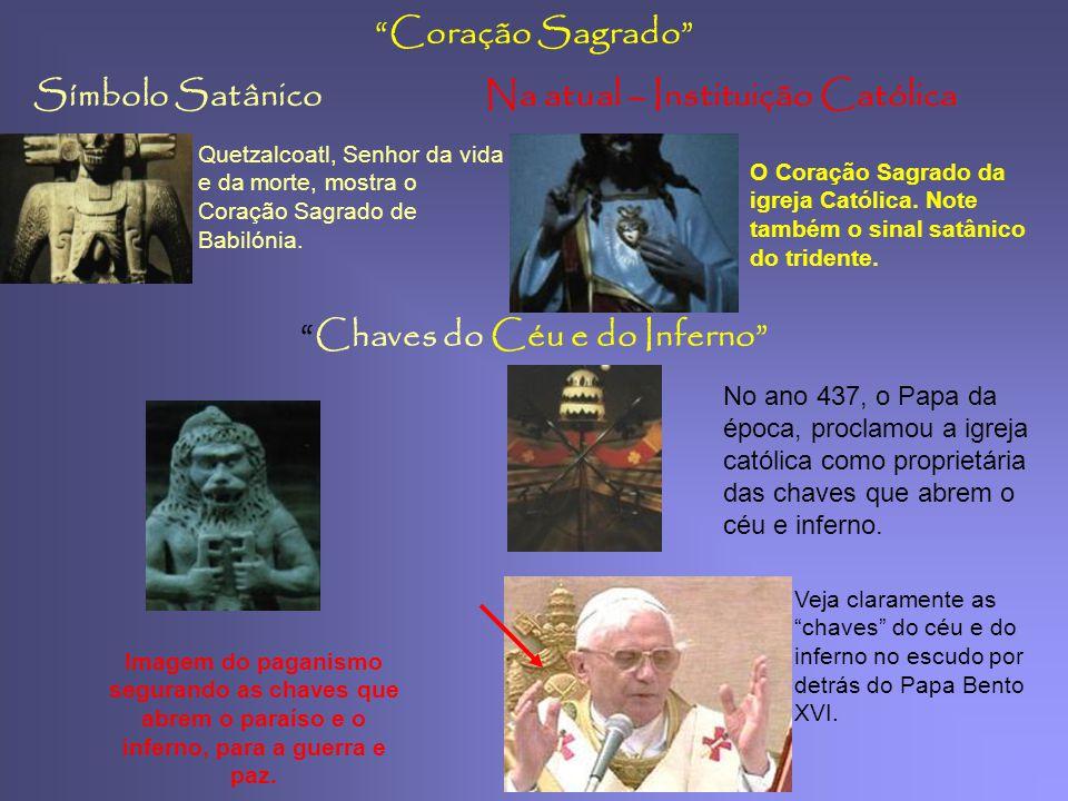 Símbolo SatânicoNa actual – Instituição Católica Pinha cone de Pinheiro 2. Ele mostranos um deus do México, que representam a reencarnação e o sol. 3