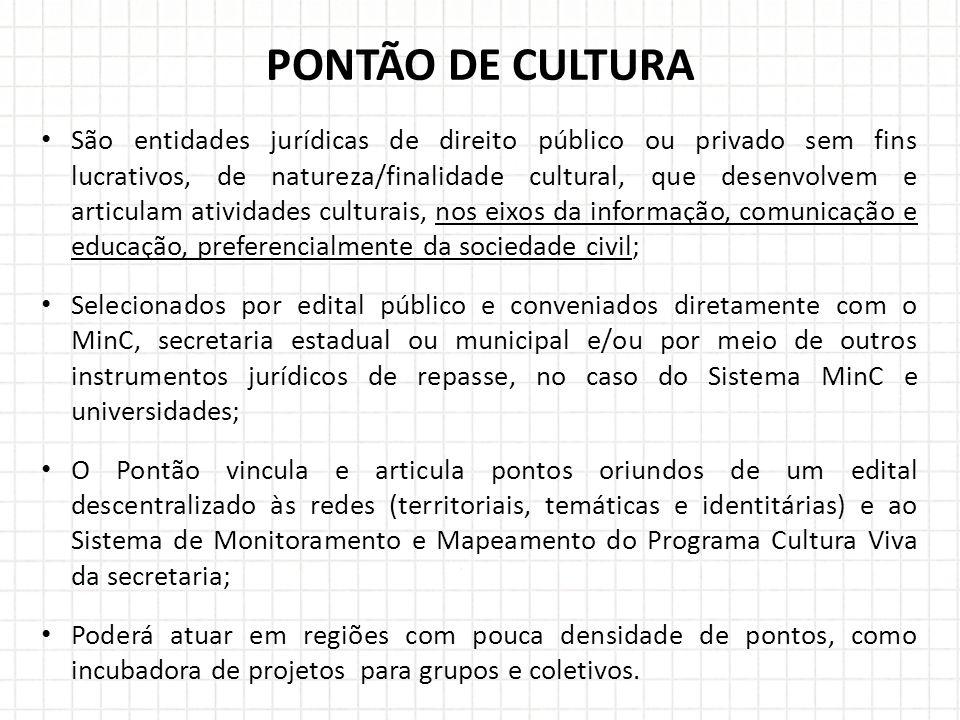 São entidades jurídicas de direito público ou privado sem fins lucrativos, de natureza/finalidade cultural, que desenvolvem e articulam atividades cul