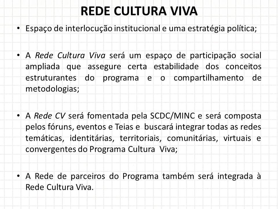 Espaço de interlocução institucional e uma estratégia política; A Rede Cultura Viva será um espaço de participação social ampliada que assegure certa