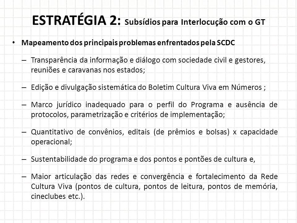 ESTRATÉGIA 2: Subsídios para Interlocução com o GT Mapeamento dos principais problemas enfrentados pela SCDC – Transparência da informação e diálogo c