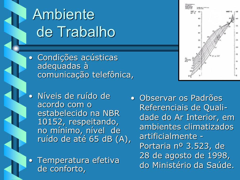Ambiente de Trabalho Condições acústicas adequadas à comunicação telefônica,Condições acústicas adequadas à comunicação telefônica, Níveis de ruído de acordo com o estabelecido na NBR 10152, respeitando, no mínimo, nível de ruído de até 65 dB (A),Níveis de ruído de acordo com o estabelecido na NBR 10152, respeitando, no mínimo, nível de ruído de até 65 dB (A), Temperatura efetiva de conforto,Temperatura efetiva de conforto, Observar os Padrões Referenciais de Quali- dade do Ar Interior, em ambientes climatizados artificialmente - Portaria nº 3.523, de 28 de agosto de 1998, do Ministério da Saúde.