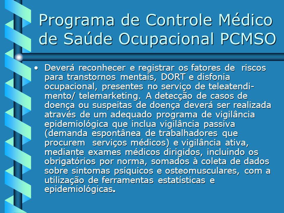 Programa de Controle Médico de Saúde Ocupacional PCMSO Deverá reconhecer e registrar os fatores de riscos para transtornos mentais, DORT e disfonia ocupacional, presentes no serviço de teleatendi- mento/ telemarketing.