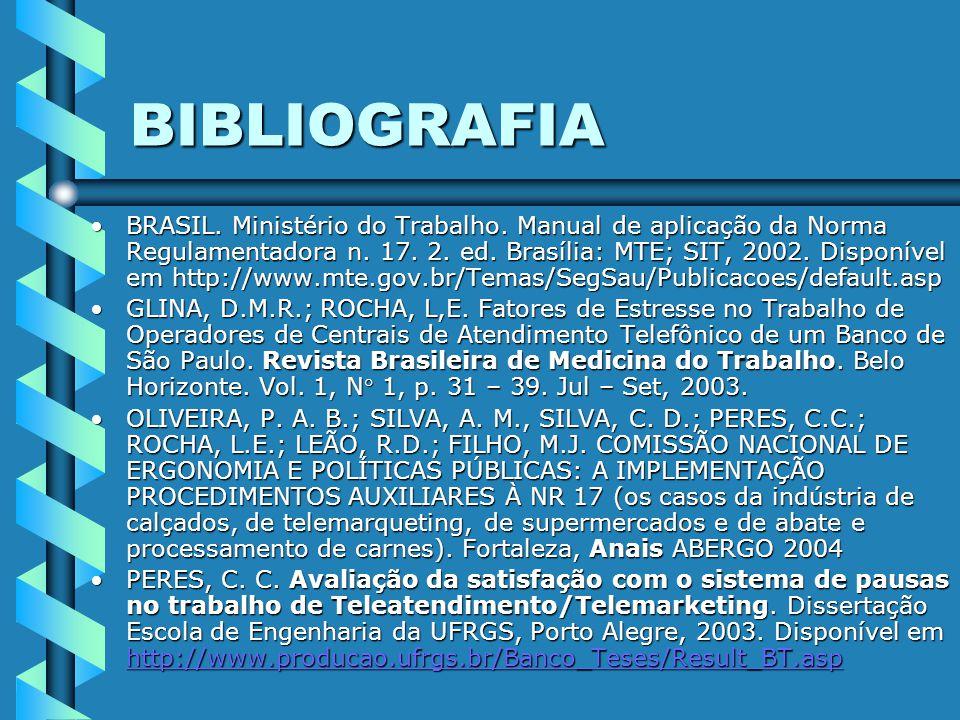 BIBLIOGRAFIA BRASIL.Ministério do Trabalho. Manual de aplicação da Norma Regulamentadora n.