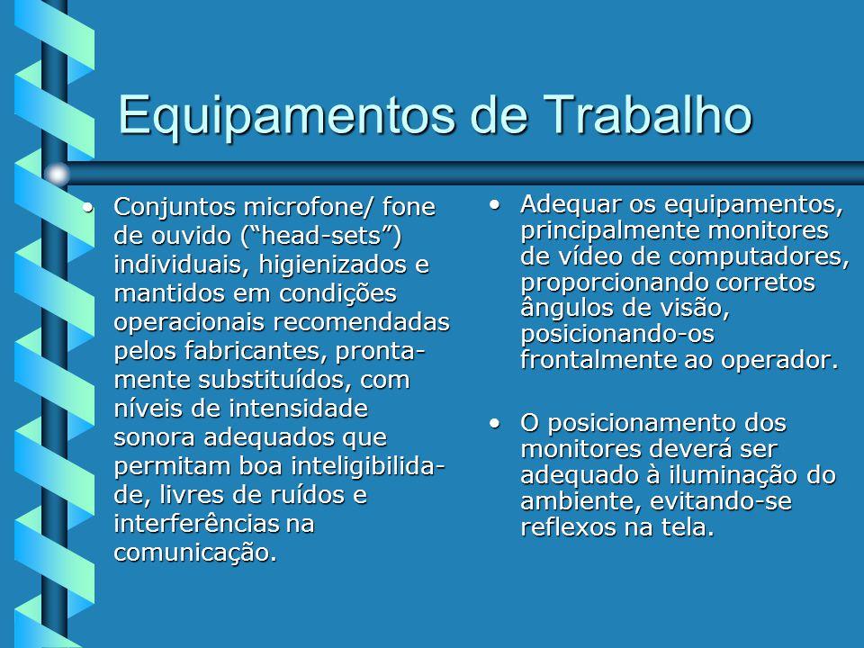 Equipamentos de Trabalho Conjuntos microfone/ fone de ouvido (head-sets) individuais, higienizados e mantidos em condições operacionais recomendadas pelos fabricantes, pronta- mente substituídos, com níveis de intensidade sonora adequados que permitam boa inteligibilida- de, livres de ruídos e interferências na comunicação.Conjuntos microfone/ fone de ouvido (head-sets) individuais, higienizados e mantidos em condições operacionais recomendadas pelos fabricantes, pronta- mente substituídos, com níveis de intensidade sonora adequados que permitam boa inteligibilida- de, livres de ruídos e interferências na comunicação.