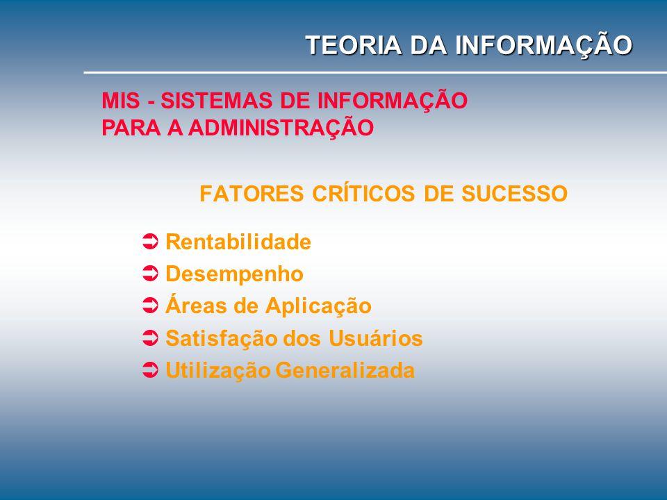 CARACTERÍSTICAS Transformam dados operacionais em informações administrativas; Informações que serão utilizadas pela Administração da Organização; Inf