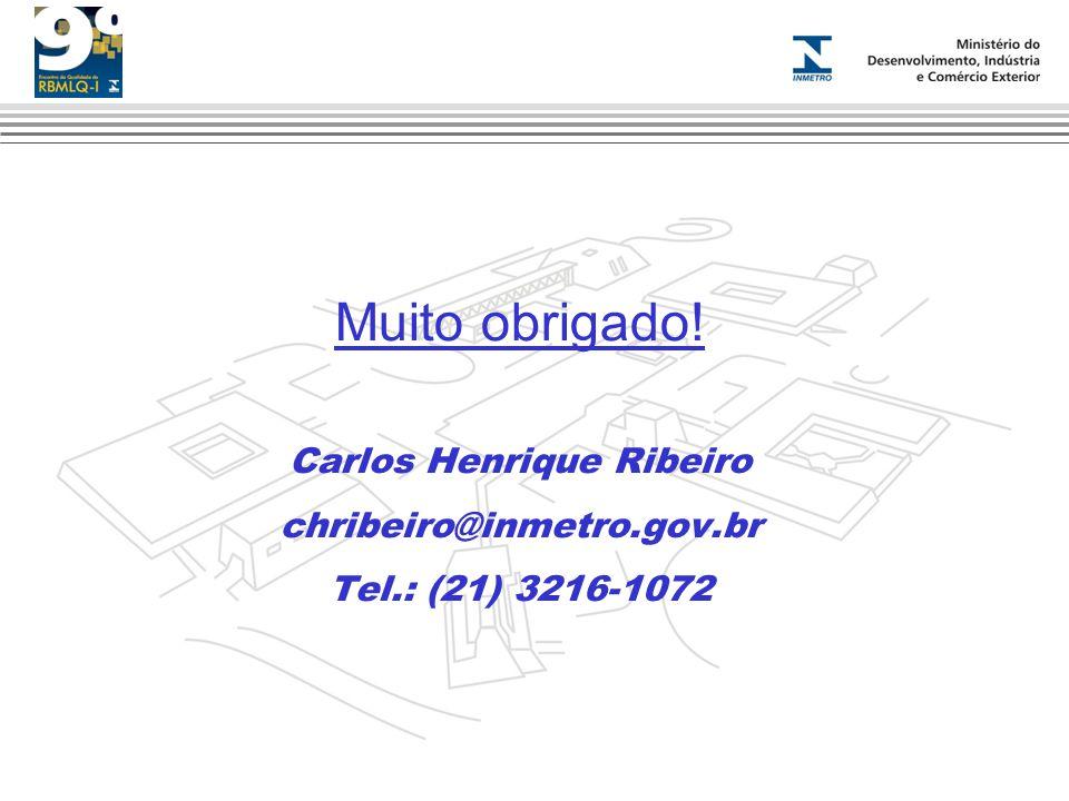 Muito obrigado! Carlos Henrique Ribeiro chribeiro@inmetro.gov.br Tel.: (21) 3216-1072