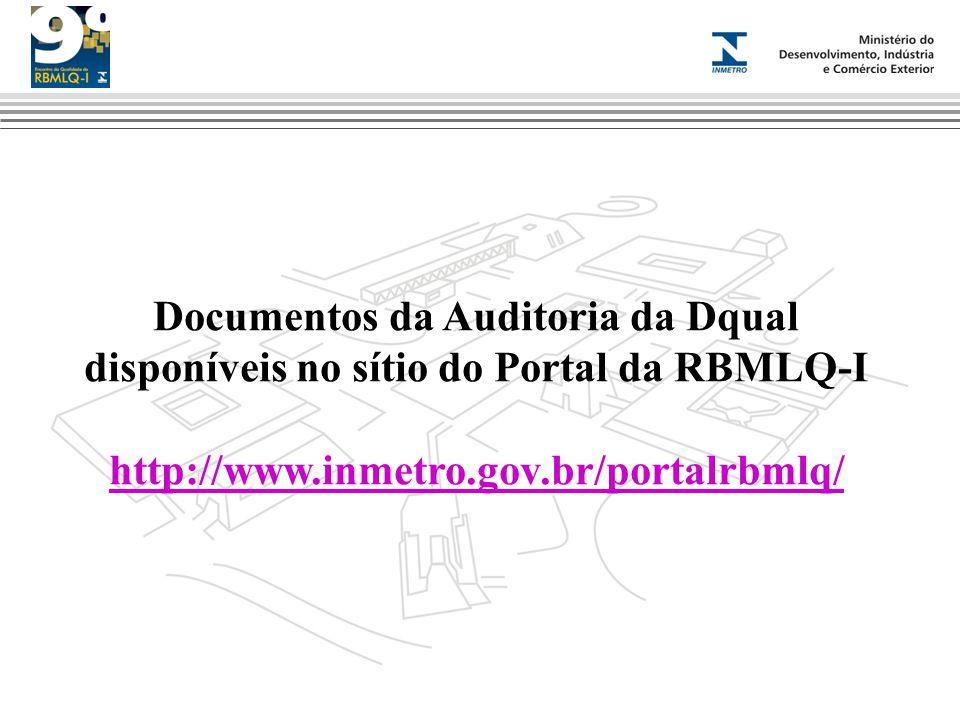 Documentos da Auditoria da Dqual disponíveis no sítio do Portal da RBMLQ-I http://www.inmetro.gov.br/portalrbmlq/