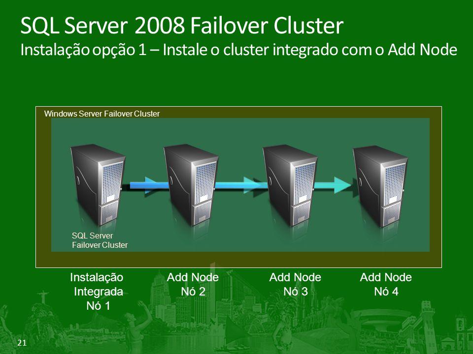 21 SQL Server 2008 Failover Cluster Instalação opção 1 – Instale o cluster integrado com o Add Node Instalação Integrada Nó 1 Add Node Nó 2 Add Node Nó 3 Add Node Nó 4 SQL Server Failover Cluster Windows Server Failover Cluster