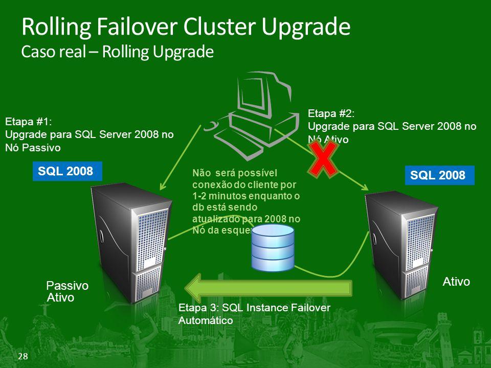 28 Rolling Failover Cluster Upgrade Caso real – Rolling Upgrade Ativo Passivo Etapa #2: Upgrade para SQL Server 2008 no Nó Ativo Etapa #1: Upgrade para SQL Server 2008 no Nó Passivo Etapa 3: SQL Instance Failover Automático Não será possível conexão do cliente por 1-2 minutos enquanto o db está sendo atualizado para 2008 no Nó da esquerda SQL 2008 SQL 2008 Ativo