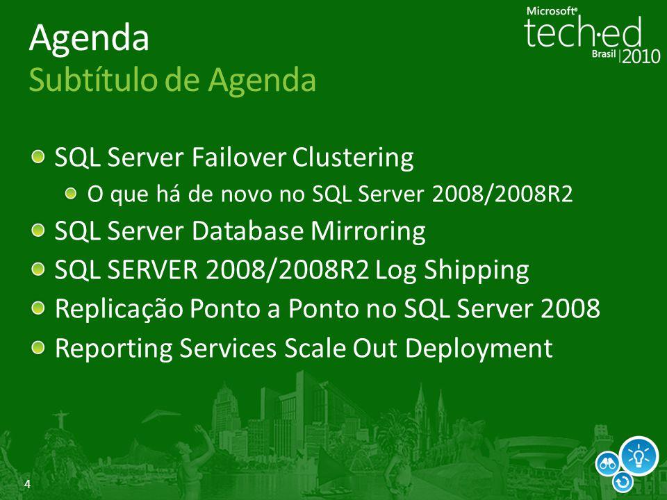 5 SQL Server Database Mirroring Funciona em ambos modos: sync e async Melhorias em uso de links de banda limitada e grande distancia Reduz a Send Queue Ligado por default (Trace 1462 para desligar) Redes rápidas = mínima/ sem melhorias