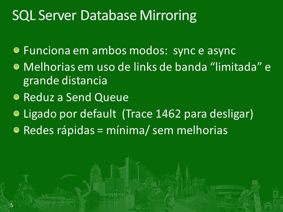 6 SQL Server Database Mirroring Medindo Database Mirroring: Log Bytes Sent/sec (uncompressed) Database Mirroring: Log Compressed Bytes Sent/sec Databases: Transactions/sec SQL Statistics: Batch Requests/sec Processor: % Processor