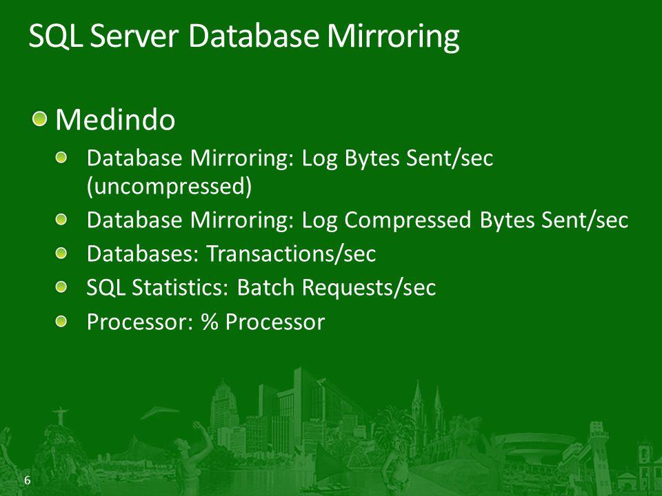7 SQL Server Database Mirroring Data Page Corruption Recovery Erros 823,824,829 encontrados SQL Server ira ler o partner da sessão de Database Mirroring A cópia de uma pagina boa, ira substituir a cópia ruim