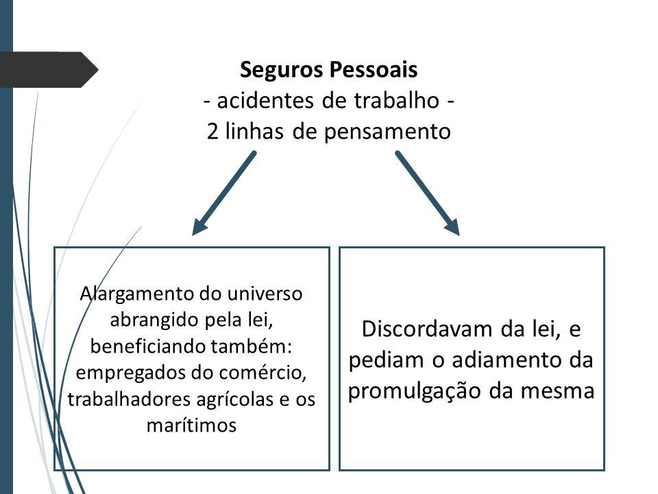 Seguros Pessoais - acidentes de trabalho - 2 linhas de pensamento Alargamento do universo abrangido pela lei, beneficiando também: empregados do comércio, trabalhadores agrícolas e os marítimos Discordavam da lei, e pediam o adiamento da promulgação da mesma
